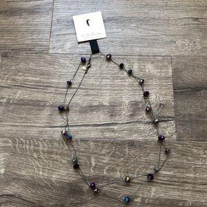 C.A.K.E by Ali Khan Purple Stone Long Necklace